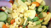 шипение : Placing pieces of cheese on vegetable mix  Стоковые видеозаписи