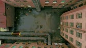 vyhořela : Aerial View Abandoned house in one of the districts of Russia These abandoned ruined houses are in the center of a large and historic city off. If you want to shoot a horror film, these frames will greatly help you