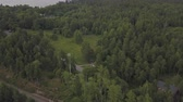 Cottages in northern forest footage. Aerial footage forest panoramas foggy thick north forest. coniferous dense trees.