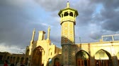 article : in iran antique palace and mosque Hazrat with wind Stock Footage