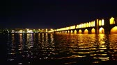 pól : iran in the old bridge of Isfahan for light and night