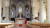 article : in italy the old inside of monitor lizard villages church altar and religion building Stock Footage