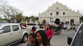 ilocos : in philippines seated and walking people in the center of the city