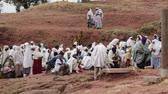 pilgrim : ETHIOPIA, LALIBELA-CIRCA JANUARY 2018 - unidentified people in the genna celebration Stock Footage