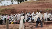 peregrino : ETHIOPIA, LALIBELA-CIRCA JANUARY 2018 - unidentified people in the genna celebration Stock Footage