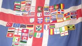 s vysokým rozlišením : in the iceland flags lots of patches from the world like concept of travel and life