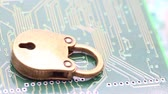 cadeado : the padlock in the motherboard like concept of security and problem