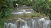 wood : Panning shot of Waterfall in Kanchanaburi, Thailand