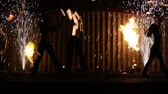 confident : Minsk, Belarus - september 29: fire show with fire dancers Stock Footage
