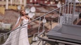 slowmotion : Bride at the roof in the city Stock Footage