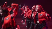 хип хоп : SAINT-PETERSBURG, RUSSIA - MARCH 11, 2018: Group of kids or teenagers dancing at the stage at concert Стоковые видеозаписи