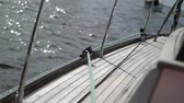 regata : Rope on sailing yacht at windy sunny day