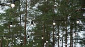 patio : Decorative outdoor string lights hanging in the garden at night or evening time. Decoration at celebration party in forest countryside