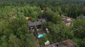 gayrimenkul : Luxury villa with swimming ppol aerial Stok Video