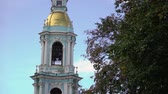 denizci : Bell tower of St. Nicholas Naval Cathedral in Saint Petersburg Russia baroque Orthodox cathedral. Sunny day