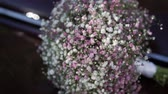 çiçekleri : Bridal beautiful flowers bouquet with white and pink gypsophila