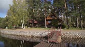 pontão : A wooden cottage near lake or sea. Luxury house for vacations. Summer day