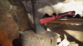 раскол : Wood with sharp ax, close up axe at countryside