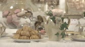 gamma : Details of the wedding, catering, Candy bar, bride and grooms suit. Flat video, S-log2 gamma
