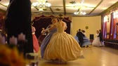 vintage : VORONEZH, RUSSIA - APRIL 22, 2017: ballroom dancing master class during Spring ball , historical ball. People dancing in a historical costumes. Historical dance party.