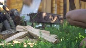 blokkok : Lumberjack is working with a hatchet, preparing wood for the grill, fireplace, stove. Stock mozgókép
