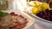 inteiro : Fruit and meat on the table. Difficult choice. Healthy and delicious food Summertime
