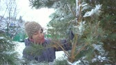 alasca : Attractive woman holding and carrying large branch of pine with snow in her winter garden for Merry Christmas and Happy New Year