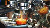 barista : Barista making a espresso with coffee machine. Stock Footage