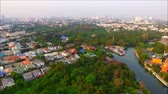 district : Aerial view of the green spaces and canals of Bangkok suburbs,Thailand