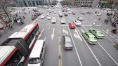 Large crossoad traffic in the center of Chengdu city, China Stock Footage
