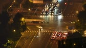 Crossroads traffic timelapse at night