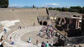régészet : Views of the Amphitheatre in the ancient Italian city of Pompeii. Stock mozgókép