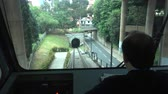 condutor : A view from inside the Funicular de Artxanda in Bilbao, Spain