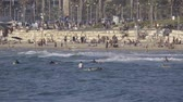 district : View of crowded beach near the coastal city Tel Aviv Stock Footage