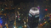 hong kong skyline : Flight near the highest building of Hong Kong One Island East