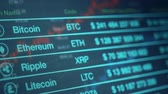 vertical scrolling of a cryptocurrency exchange rate panel, (3d render) Stock Footage