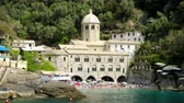 santuário : San Fruttuoso sea abbey - Liguria - Italy Stock Footage