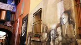 alley wall : Dozza the painted city - Bologna - Emilia Romagna - Italy Stock Footage
