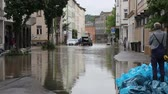 flooded road : GERA, GERMANY- JULY, 22, 2011: Flooding in the city