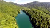 não urbano : AERIAL: Flight over lake with forest around Stock Footage