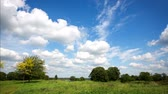 cennet : 4K. Timelapse clouds over the green field.
