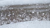 abstract : Frozen ice surface and snow begins to fall Stock Footage