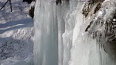 Waterfall in the National Park Slovak Karst, in the village named Haj district Kosice, Slovakia in winter. Wideo