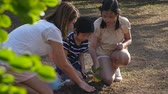 ochrana : Asian mother and children planting young tree in black soil together slow motion