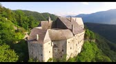 celta : Aerial view of alpine Castle in the mountains