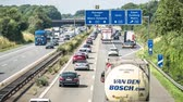 moers : Moers  Germany - July 07 2017 : Accident causing traffic jam on the motorway A57