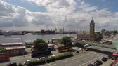 major city : Hamburg  Germany - July 14, 2017: The St Pauli Piers is one of the major tourist attractions in the city of Hamburg, time lapse