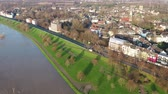 salgueiro : Duisburg  Germany - January 08 2017 : The Muehlenweide is flooded by the river Rhine - aerial view