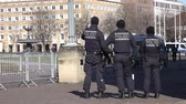 observar : Stuttgart  Germany - February 11 2018 : German Federal police officer protecting the city