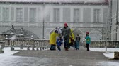 facing : Munich  Germany - February 17 2018 : People facing the snow storm in Munich